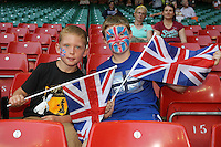 Fans get ready for the start of the Olympics - Great Britain Women vs New Zealand Women - Womens Olympic Football Tournament London 2012 Group E at the Millenium Stadium, Cardiff, Wales - 25/07/12 - MANDATORY CREDIT: Gavin Ellis/SHEKICKS/TGSPHOTO - Self billing applies where appropriate - 0845 094 6026 - contact@tgsphoto.co.uk - NO UNPAID USE.