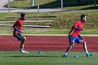 Spainsh Koke Resurreccion and Sergio Busqeuts during the training of the spanish national football team in the city of football of Las Rozas in Madrid, Spain. November 10, 2016. (ALTERPHOTOS/Rodrigo Jimenez) ///NORTEPHOTO.COM