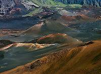 Massive multi colored lava cinder cones in the crater at HALEAKALA NATIONAL PARK on Maui in Hawaii