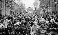 riders ready at the start in Milano at the Piazza Sempione<br /> <br /> 2014 Milano - San Remo