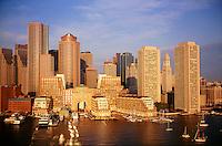 Aerial harbor waterfront sunrise, Boston, MA