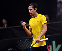 BOGOTA-COLOMBIA, 06-03-2020: Daniel Galan de Colombia celebra el partido ganado a Leandro Mayer de Argentina, durante partido de la Copa Davis entre los equipos de Colombia y Argentina, partidos por el ascenso al Grupo Mundial de Copa Davis por BNP Paribas, en la Plaza de Toros La Santamaria en la ciudad de Bogota. / Daniel Galan of Colombia celebrates the winer match to Leandro Mayer of Argentina,  during a Davis Cup match between the teams of Colombia and Argentina, match promoted to the World Group Davis Cup by BNP Paribas, at the La Santamaria Ring Bull in Bogota city. / Photo: VizzorImage / Luis Ramirez / Staff.