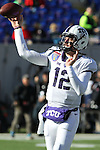 December 30, 2016: TCU quarterback Foster Sawyer (12) during pregame of the Autozone Liberty Bowl Georgia Bulldogs vs TCU Horned Frogs at Liberty Bowl Memorial Stadium in Memphis, Tennessee. ©Justin Manning/Eclipse Sportswire/Cal Sport Media