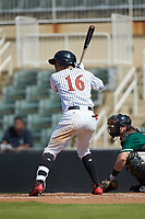 Luis Curbelo (16) of the Kannapolis Intimidators at bat against the Greensboro Grasshoppers at Kannapolis Intimidators Stadium on August 5, 2018 in Kannapolis, North Carolina. The Intimidators defeated the Grasshoppers 9-0 in game two of a double-header.  (Brian Westerholt/Four Seam Images)