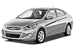 Front three quarter view of a 2012 Hyundai Accent GLS Sedan.