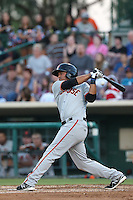 Ydwin Villegas #23 of the San Jose Giants bats against the Inland Empire 66ers at San Manuel Stadium on May 31, 2014 in San Bernardino, California. Inland Empire defeated San Jose, 4-0. (Larry Goren/Four Seam Images)