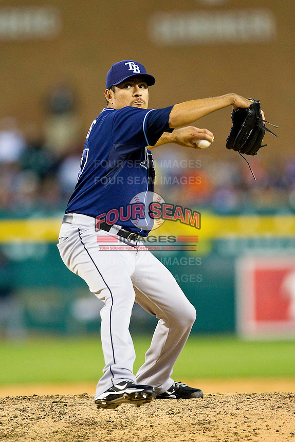 Tampa Bay Rays relief pitcher Cesar Ramos (27) in action against the Detroit Tigers at Comerica Park on June 4, 2013 in Detroit, Michigan.  The Tigers defeated the Rays 10-1.  Brian Westerholt/Four Seam Images