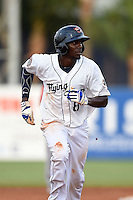 Lakeland Flying Tigers outfielder Jiwan James (8) running the bases during a game against the Palm Beach Cardinals on April 13, 2015 at Joker Marchant Stadium in Lakeland, Florida.  Palm Beach defeated Lakeland 4-0.  (Mike Janes/Four Seam Images)