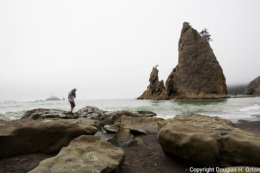 Hiker explores fog shrouded Rialto Beach, near the village of La Push, offers experiences from kayaking the Dickey River to visiting the spectacular Quileutte village.  Rialto bech is a favorite of hikers for nearby coastal camping.  Olympic Penninsula, Washington.  Outdoor Adventure. Olympic Peninsula