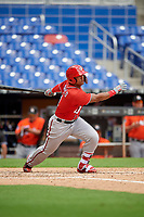 Washington Nationals Anderson Franco (11) follows through on a swing during a Florida Instructional League game against the Miami Marlins on September 26, 2018 at the Marlins Park in Miami, Florida.  (Mike Janes/Four Seam Images)