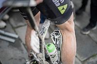 Edvald Boasson Hagen's (NOR/Dimension Data) post-race muddy legs<br /> <br /> 11th Strade Bianche 2017