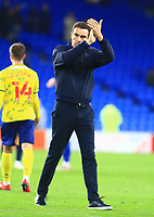28th September 2021; Cardiff City Stadium, Cardiff, Wales;  EFL Championship football, Cardiff versus West Bromwich Albion; Valerien Ismael, Manager of West Bromwich Albion applauds the travelling supporters after the 0-4 win