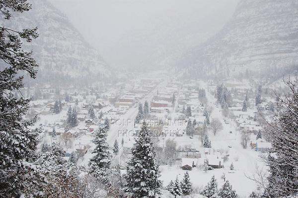 Ouray in winter, Ouray, Rocky Mountains, Colorado, USA