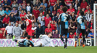 Jay Simpson of Leyton Orient scores his goal to make it 1-1 during the Sky Bet League 2 match between Leyton Orient and Wycombe Wanderers at the Matchroom Stadium, London, England on 19 September 2015. Photo by Andy Rowland.