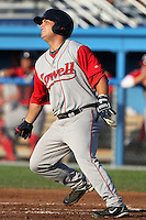 Lowell Spinners First Baseman Miles Head hits a home run during a game vs. the Batavia Muckdogs at Dwyer Stadium in Batavia, New York July 16, 2010.   Batavia defeated Lowell 5-4 with a walk off RBI single.  Photo By Mike Janes/Four Seam Images