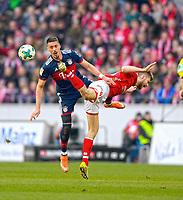 03.02.2018,  Football 1.Liga 2017/2018, 21. match day, 1.FSV Mainz - FC Bayern Muenchen, in Opel-Arena Mainz. v.li: Sandro Wagner (FC Bayern Muenchen)  -  Alexander Hack (Mainz 05). *** Local Caption *** © pixathlon<br /> <br /> +++ NED + SUI out !!! +++