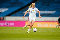 SOLNA, SWEDEN - APRIL 10: Lindsey Horan #9 of the United States dribbles with the ball during a game between Sweden and USWNT at Friends Arena on April 10, 2021 in Solna, Sweden.