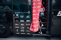 Niklas Eg (DEN/Trek-Segafredo) entering the teambus<br /> <br /> stage 15: Tolmezzo – Sappada (176 km)<br /> 101th Giro d'Italia 2018