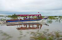 Boat cruising on the Tonle Sap lake, Cambodia