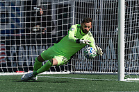 FOXBOROUGH, MA - MARCH 7: Kenneth Kronholm #18 of Chicago Fire save during a game between Chicago Fire and New England Revolution at Gillette Stadium on March 7, 2020 in Foxborough, Massachusetts.