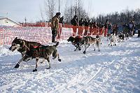Sunday February 27, 2010   Tobin Sworts leaves the start line of the Junior Iditarod at Willow Lake, Alaska