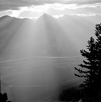 Colin Mountain and the Athabasca Valley at sunrise, Jasper National Park<br /> <br /> Photograph by Joe Weiss,