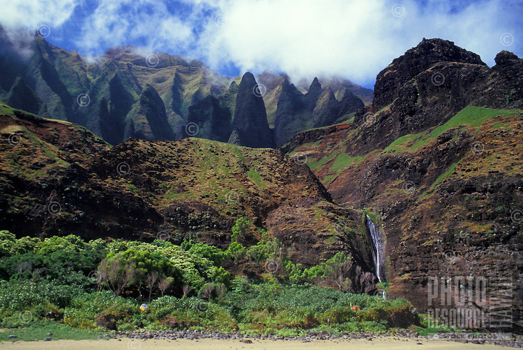 Kalalau Valley, Na Pali Coast State Park, beach campground area, photo from boat near shore.