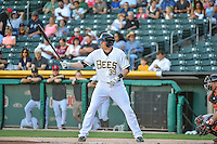 Marc Krauss (39) of the Salt Lake Bees at bat against the Fresno Grizzlies in Pacific Coast League action at Smith's Ballpark on June 13, 2015 in Salt Lake City, Utah.  (Stephen Smith/Four Seam Images)
