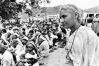 India, Narmada River, Narmada dams and protest movement of NBA Narmada Bachao Andolan, movement to save the Narmada river, and affected Adivasi in their villages, tribal village Domkhedi, rally in September 2000, Medha Patkar