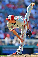 30 May 2011: Philadelphia Phillies pitcher Ryan Madson closes out the game against the Washington Nationals at Nationals Park in Washington, District of Columbia. The Phillies defeated the Nationals 5-4 to take the first game of their 3-game series. Mandatory Credit: Ed Wolfstein Photo