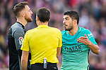 Luis Suarez (r) of FC Barcelona sticks out his tongue as  goalkeeper Jan Oblak (l) of Atletico de Madrid talks to him during their La Liga match between Atletico de Madrid and FC Barcelona at the Santiago Bernabeu Stadium on 26 February 2017 in Madrid, Spain. Photo by Diego Gonzalez Souto / Power Sport Images