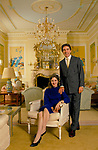Earl Alexander of Tunis and The Countess Davina Alexander (nee Woodhouse)  at home London. 1990s UK