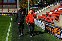 Fleetwood Town's defender Tommy Spurr (6) and Jason Holt arriving for the Sky Bet League 1 match between Fleetwood Town and Barnsley at Highbury Stadium, Fleetwood, England on 29 September 2018. Photo by Stephen Buckley / PRiME Media Images.