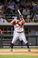 Daniel Castro (2) of the Gwinnett Braves at bat against the Charlotte Knights at BB&T BallPark on August 11, 2015 in Charlotte, North Carolina.  The Knights defeated the Braves 3-2.  (Brian Westerholt/Four Seam Images)