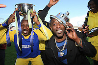 Inter Lucia Fc players celebrate after winning the East London Sunday League Cup Final against Hackney Downs at Leyton Orient Football Club - 03/05/09 - MANDATORY CREDIT: Gavin Ellis/TGSPHOTO - Self billing applies where appropriate - Tel: 0845 094 6026