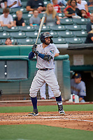 Deven Marrero (7) of the New Orleans Baby Cakes at bat against the Salt Lake Bees at Smith's Ballpark on August 4, 2019 in Salt Lake City, Utah. The Baby Cakes defeated the Bees 8-2. (Stephen Smith/Four Seam Images)