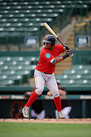 Boston Red Sox Kleiber Rodriguez (10) at bat during a Florida Instructional League game against the Baltimore Orioles on October 8, 2018 at the Ed Smith Stadium in Sarasota, Florida.  (Mike Janes/Four Seam Images)