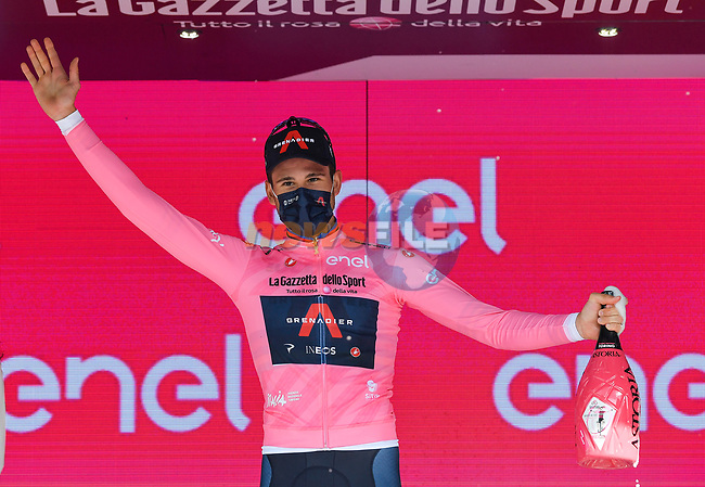 World Champion Filippo Ganna (ITA) Ineos Grenadiers wins Stage 1 and wears the first leaders Maglia Rosa of the 2021 Giro d'Italia, and individual time trial running 8.6km around Turin, Italy. 8th May 2021.  <br /> Picture: LaPresse/Massimo Paolone | Cyclefile<br /> <br /> All photos usage must carry mandatory copyright credit (© Cyclefile | LaPresse/Massimo Paolone)