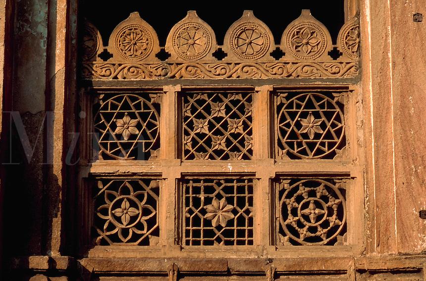 Architectural detail of a window at the Shah Ka Hariza king s tomb Ahmedabad, India