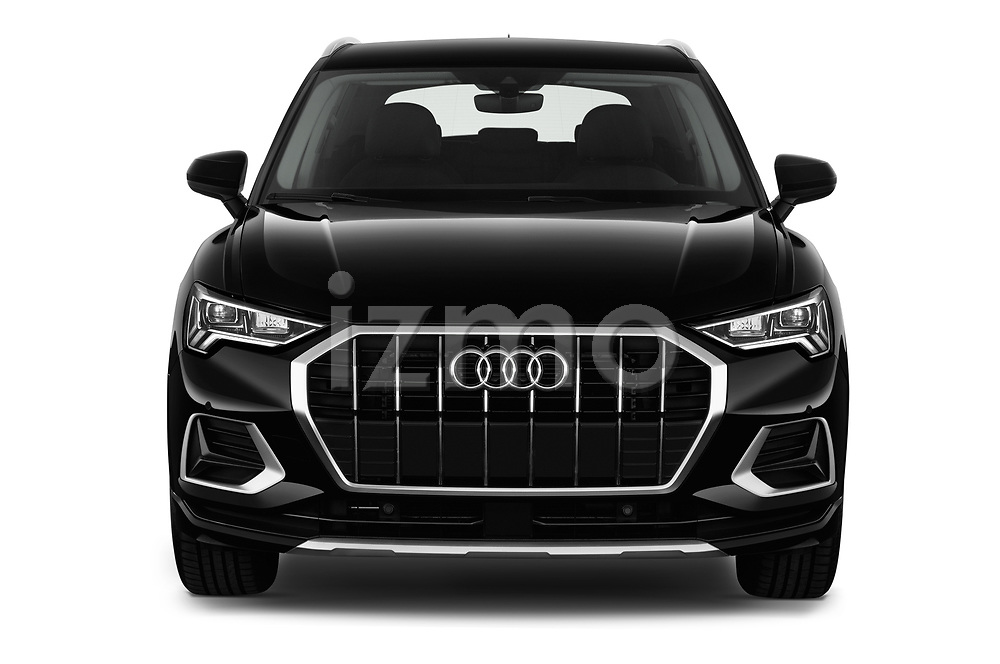 Car photography straight front view of a 2019 Audi Q3 Advanced 5 Door SUV Front View
