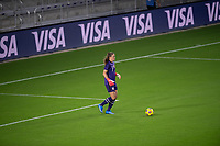 ORLANDO CITY, FL - FEBRUARY 18: Alyssa Naeher #1 looks for options during a game between Canada and USWNT at Exploria stadium on February 18, 2021 in Orlando City, Florida.