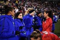 COLUMBUS, OH - NOVEMBER 07: Mallory Pugh #2, Samantha Mewis #3 and Christen Press #23 of the United States talk on the sideline during a game between Sweden and USWNT at MAPFRE Stadium on November 07, 2019 in Columbus, Ohio.