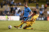 18th April 2021; Leichardt Oval, Sydney, New South Wales, Australia; A League Football, Sydney Football Club versus Adelaide United; Juan Lopez of Adelaide United slides in and tackles Harry Van Der Saag of Sydney
