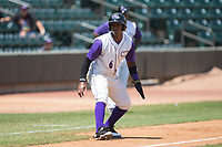 Yeyson Yrizarri (6) of the Winston-Salem Dash takes his lead off of third base against the Potomac Nationals at BB&T Ballpark on August 6, 2017 in Winston-Salem, North Carolina.  The Nationals defeated the Dash 4-3 in 10 innings.  (Brian Westerholt/Four Seam Images)