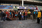 Off the Jak with connections celebrate after winning the Florida Sunshine Millions Sprint at Gulfstream Park.  Hallandale Beach Florida. 01-19-2013