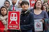 Camden Councillors, including Tulip Siddiq (L) and Heather Johnson (R). Stop HS2 demonstration outside Parliament on the day of the second reading of the HS2 Hybrid Bill.