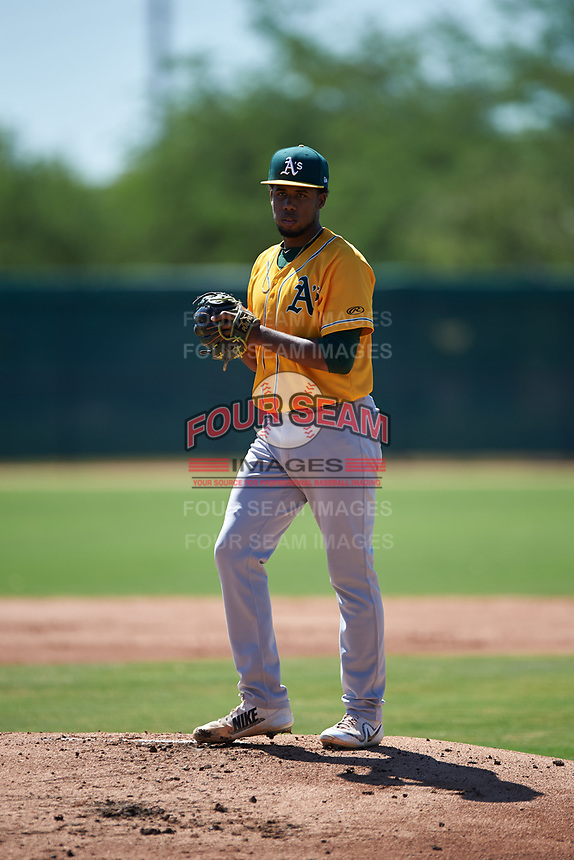 AZL Athletics Gold starting pitcher Robin Vazquez (46) during an Arizona League game against the AZL White Sox on July 4, 2019 at Camelback Ranch in Glendale, Arizona. The AZL White Sox defeated the AZL Athletics Gold 6-2. (Zachary Lucy/Four Seam Images)