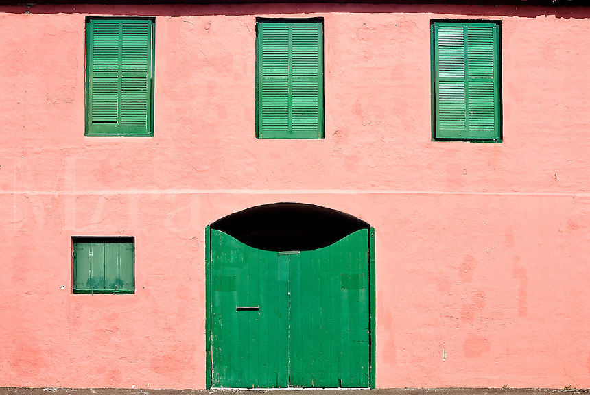 Colorful building facade, St George, Bermuda