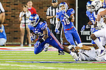 Southern Methodist Mustangs linebacker Anthony Rhone (48) in action during the game between the TCU Horned Frogs and the SMU Mustangs at the Gerald J. Ford Stadium in Dallas, Texas.