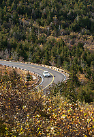 Car traveling road to the peak of Caddilac Mountain, Acadia National Park, Maine, USA